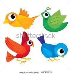 A cute collection of four cartoon multicolor birds vector illustration.