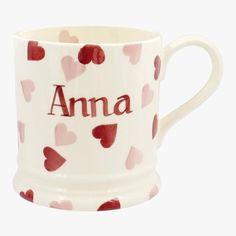 Personalised Pink Hearts 1 Pint Mug
