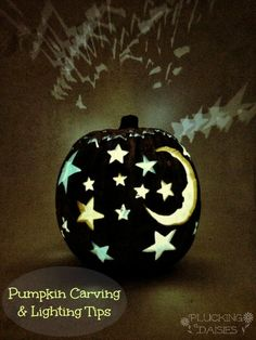 Moon and Stars Pumpkin: Pumpkin Carving and Lighting Techniques | Pluckingdaisies.com #Sizzix #TimHoltz #Pintowingifts