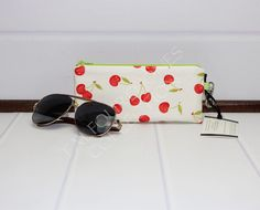 Excited to share this fun glasses case to my #etsy shop: Zipper Glasses Case - Sunglasses Case - Eyeglass Case - Reading Glasses Case - Ivory Cherries http://etsy.me/2AqksEG #accessories #eyewear #paddedglassescase #zipperpouch #zipperglassescase   Please share with friends