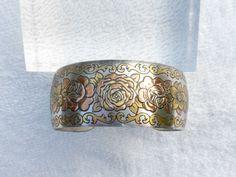Reed and Barton Damascene cuff bracelet in rose pattern AA415 by MeyankeeGliterz on Etsy