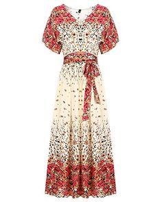 ae9ea770739 Mixfeer Women's Sexy Deep V Neck Boho Split Tie-Waist Vintage Floral  Print Maxi Dress