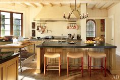A kitchen in a home designed by Suzanne Kasler and architecture firm Spitzmiller & Norris at Tennessee's Blackberry Farm.