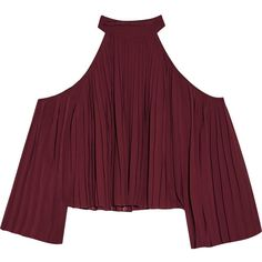 W118 by Walter Baker Mila cutout pleated crepe de chine blouse ($88) ❤ liked on Polyvore featuring tops, blouses, shirts, crop tops, burgundy, cut out shoulder blouse, open shoulder shirt, burgundy crop top, burgundy blouse and burgundy shirt
