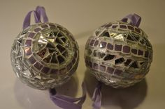 Silver and purple mosaic christmas ornament by PippesGlasmozaiek, €18.00