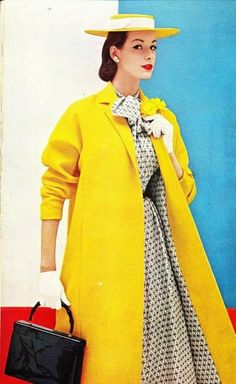"""One of the freshest, newest spring colors is yellow. Our coat is in a crisp pin-point wool worsted. The smooth shoulder extends into push-up sleeves, and pockets are in the front fitting lines. The lining is black-and-white silk surah in a delightful geometric design."" Vogue S-4681 Ladies Home Journal, March, 1956"