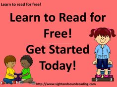 Learn to read for free!  Get started today!  Visit http://www.sightandsoundreading.com #learntoread #free #homeschool #specialneeds