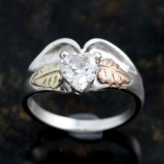 Ladies Sterling Silver Ring with 10K gold leaves by JewelryAndGems, $60.50