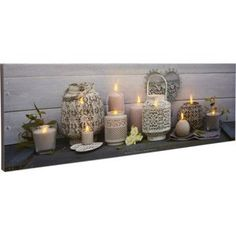 Toile LED Lanternes, bougies, roses blanches, 90x30 cm | Leroy Merlin