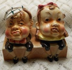 Vintage Old Couple Sitting Salt and Pepper Shakers!!
