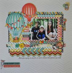 Laurie Part Two! Supplies:Find Your Wings and Fly-Sky's the Limit:Layered Ephemera, Pick a Card, Ballon Parade patterned papers, stamps, Find Your Wings and Fly-Up and Away:Look, Zig Zag patterned papers,tape, alpha word stickers, buttons, brads, chipboard, enamel dots