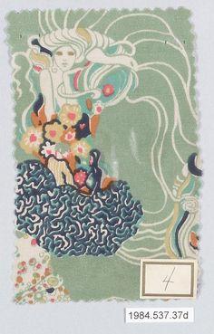 Textile sample by Gustav Klimt, ca.1920. Wiener Werkstatte