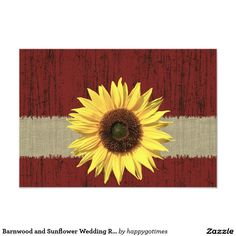 Barnwood and Sunflower Wedding RSVP
