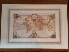 """1993 Verkerke Gallery Edition Lithoprint of """"ALL THE KNOWN WORLD""""by Emanuel Bowen Fleas, Basement, Vintage World Maps, Antiques, Gallery, Root Cellar, Antiquities, Antique, Basements"""