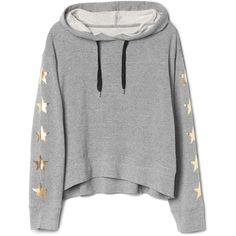 Star-sleeve pullover hoodie (£28) ❤ liked on Polyvore featuring tops, hoodies, hooded sweatshirt, pullover top, star print top, sleeve top and hooded pullover