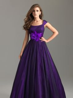 Long violet evening dress with floral belt and cap sleeves from Night Moves (Style: 6579M).