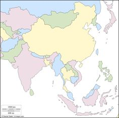 South and east Asia : free map, free blank map, free outline map, free base map : states, color (white)