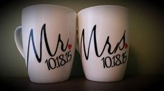 Mr and Mrs Coffee Mug Set One of a Kind Coffee by ByJusteenCrafts