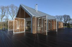 external timber screens that to control privacy and light. Could we use ones like this on the north facing bedroom window, but which opens out horizontally from the top to create a shade awning.