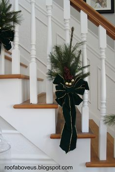 We also managed to finish the steps and get the spindles painted. Here is what the steps looked like before we moved in: And he... Christmas Stairs, Winter Christmas, Christmas Holidays, Christmas Gifts, Holiday Ideas, Christmas Ideas, Stairway Decorating, Holiday Market, Stairway To Heaven