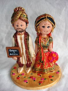 Indian wedding cake topper Fully by ALittleRelic on Etsy, $160.00