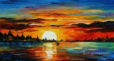 Leonid Afremov Sunrise In The Harbor oil painting reproductions for sale