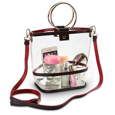 SharPlus Clear PVC Crossbody Shoulder Purse Bag - Sporting Events Stadium Approved Transparent Plastic Tote Bucket Handbag with Colorful Strap Clear Handbags, Bucket Handbags, Clear Backpacks, Transparent Bag, Clear Bags, Leather Briefcase, Bag Organization, Shoulder Purse, Handmade Bags