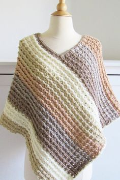This free crochet poncho pattern for women comes in sizes small to plus sizes. Made from simple rectangle shapes, this poncho tutorial is quick and easy enough for beginners. # crochet ponchos for women Pattern for Crochet Poncho-Textured- Crochet Dreamz Poncho Au Crochet, Crochet Shawls And Wraps, Crochet Scarves, Crochet Clothes, Crochet Baby, Knit Crochet, Knitted Shawls, Crochet Vests, Poncho Shawl