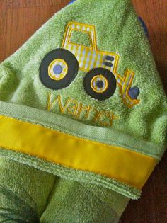 Green and Yellow Tractor Hooded Towel by ShopChasingBubbles, $21.95