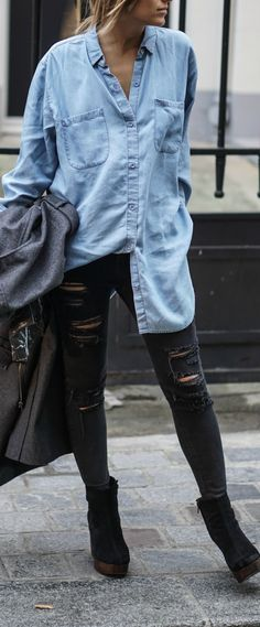 Chambray + distressed denim.