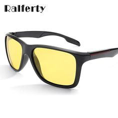 0636bc86236 Ralferty Hd Polarized Night Vision Glasses Men Square Yellow Lens Driving  Glasses Anti Glare Car K1037