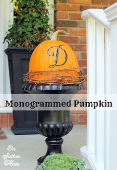 Easy and DIY way to monogram a pumpkin along with inspiration for fall porch decor.