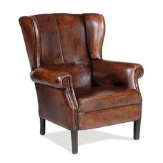 Library wing chair. Supple aniline-dyed, top-grain Italian leather with 5