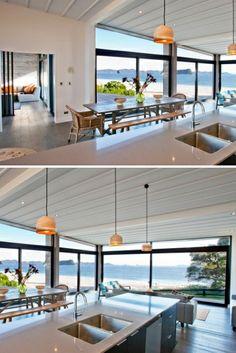 Tomi Williams, Hahei Beach Rd. Photo: McCoy Architecture Beautiful Kitchens, Kitchen Decor, Design Inspiration, Windows, Future, Interior Design, Architecture, Building, Beach