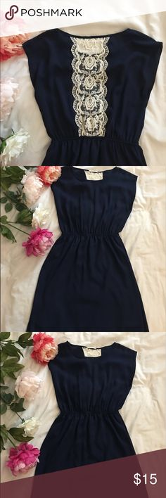 Navy Blue Dress with Crochet Back Perfect condition. Navy Blue color. Modest chiffon dress Forever 21 Dresses Midi