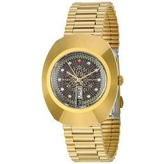 Rado Men's 'Original' Yellow Gold-Plated Hard Metal Swiss Mechanical... ($546) ❤ liked on Polyvore featuring men's fashion, men's jewelry, men's watches, black, mens gold watches, mens watches jewelry, mens diamond bezel watches, mens metal watches and men's blue dial watches