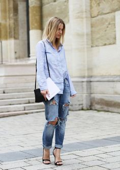 The boyfriend jeans will give your outfit a comfortable and cute vibe. Here you can check out 15 Stylish Ways To Wear Boyfriend Jeans With Heels. Jeans Boyfriend, Pantalones Boyfriend, Boyfriend Style, Boyfriend Girlfriend, Street Style Jeans, Look Street Style, Street Chic, Jeans Style, Fashion Blogger Style