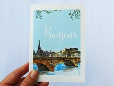 PARIS NOTE CARDS: Bonjour on the Bridge