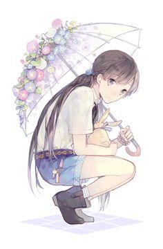 Floral Umbrella. anime art