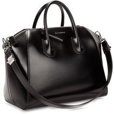 Givenchy Antigona Medium Black Leather Tote (2.565 BRL) ❤ liked on Polyvore featuring bags, handbags, tote bags, bags/purses, bolsa, bolsos, purses, zippered tote bag, leather zipper tote and leather tote