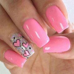 Easy Valentine's Day Nail Art Ideas 2019 easy valentine's day nail art ideas nail designs; acrylic easy valentine's day nail art ideas nail designs; Pink Nail Art, Cute Acrylic Nails, Glitter Nail Art, Acrylic Art, Heart Nail Designs, Valentine's Day Nail Designs, Nail Designs For Kids, Nails Design, Salon Design