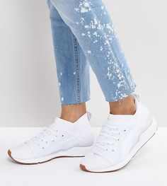 PUMA PEARL LACE UP SNEAKERS IN WHITE - WHITE. #puma #shoes #