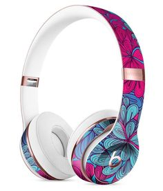 Turquoise and Burgundy Floral Velvet Full-Body Skin Kit for the Beats by Dre Solo 3 Wireless Headphones Beats Studio Headphones, Best In Ear Headphones, Bluetooth Headphones, Beats By Dre, Inspirational Gifts, Full Body, Phone Accessories, Audiophile, Turquoise