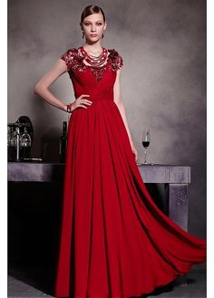 Elegant Red Tone V neck Zipper Empire Floor Length Prom Dress 77a393ab70cc