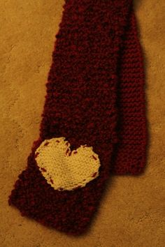 Beginner Knitted Heart Scarf