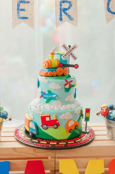 Plains, Trains and Automobiles Birthday Party Ideas Baby Boy 1st Birthday Party, Trains Birthday Party, Baby Birthday Cakes, Baby Boy Cakes, Birthday Ideas, Transportation Birthday, Party Ideas, Disney Cars Cake, Family Drawing