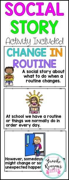 Social story about change in routines. Perfect for special education students with autism that need help with change. Also great for any student that struggles with changes.