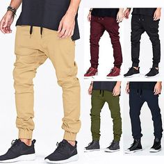 Men-Drop-Crotch-Joggers-Sweatpants-Khaki-Sport-Baggy-Casual-Pants-Harem-Trousers