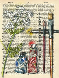 rhianwynharrison: TOOL : Illustration Friday An Agatha Christie title in visual clues (Five Little Pigs), and showing the victims artist tools! Art Drawings Beautiful, Colorful Drawings, Book Page Art, Book Art, Etiquette Vintage, Newspaper Art, Dictionary Art, Hippie Art, Ink Illustrations