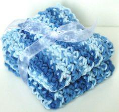 Crochet Washcloths Dishcloths  Set of 2  Shades of Blue